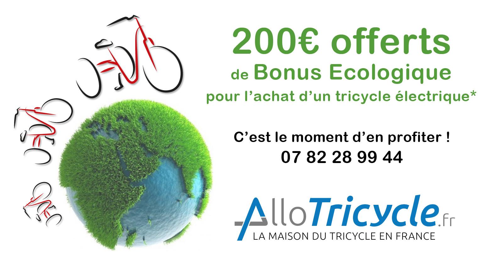 Bonus Ecologique 200€ Tricycle électrique